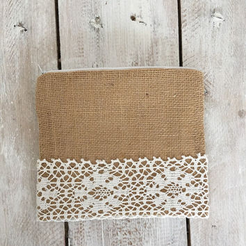 Burlap lace clutch Bridal lace clutch Burlap lace wedding clutch Rustic bag Rustic wedding clutch Burlap clutch Burlap wedding clutch bag