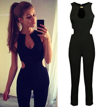 2015 Playsuit Rompers Womens Jumpsuit Overalls For Women Jumpsuit Sexy Summer Casual Black Sleeveless O-Neck Jumpsuit 50