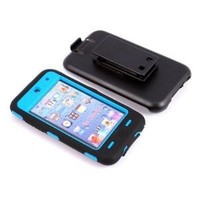 Smile Case Full Protection Case Black on Blue for iPod Touch 4 4G iTouch 4 4G with Belt Clip Holster (it-Black on Blue)