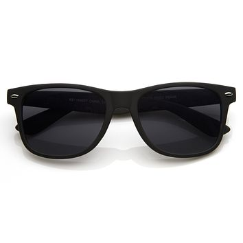 Retro Matte Flat Black Horned Rim Sunglasses 8698