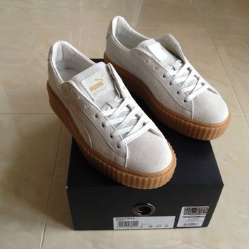 PUMA RIHANNA WHITE SUEDE CREEPERS FENTY TRAINERS ALL SIZES 3 4 5 6 7 8 NEW