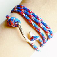 Fish Hook Paracord Bracelet- Adjustable Paracord Bracelet- Emergency Paracord Bracelet- Patriotic 550 Paracord- Unisex Survival Bracelet