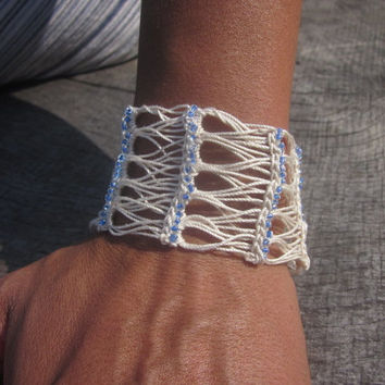 Broom Stick Crochet Cuff Bracelet With Hand-Sewn Glass Beads-Beige/Blue Beads