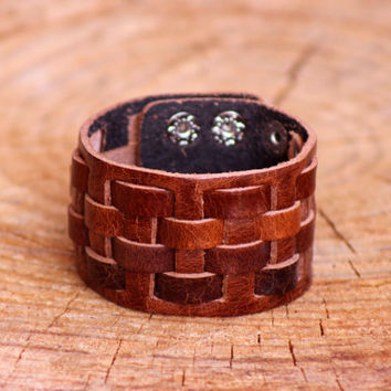 Genuine Brown Leather Bracelet with Clasp, Unisex Bracelet, Leather Cuff, Wristband Bracelet