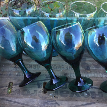 Vintage glassware Libbey teardrop Juniper teal green water goblets/ wine glasses, wedding table glasses, shower garden party brunch glasses