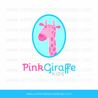 OOAK Premade Logo Design - Pink Giraffe - Perfect for a baby or children brand