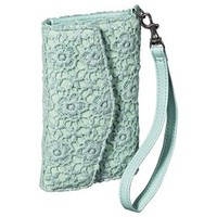 Merona® Flower Embroidered Cell Phone Case Wallet with Removable Wristlet Strap - Mint
