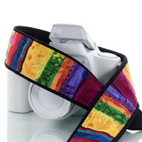 Rainbow Camera Strap, dSLR, SLR, Mirrorless, Pocket, Canon camera strap, Nikon camera strap, Photographer Gift, Camera, 217 w