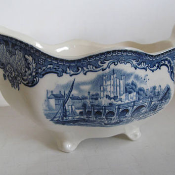 Johnson Bros China Old Britain Castles Antique Gravy Boat Blue and White Gravy Boat Blue Transferware Blue and White China