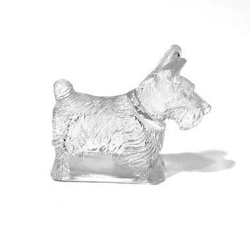 Glass Scottie Westy Dog Figurine, Candy Container, Thick Textured, Clear Glass, Hollow Inside, T H Stough Co, Vintage 1940s, Dog Collectible