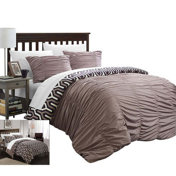 Emelia Elissa Pleated Reversible 3 Piece Duvet Cover Set King & Queen Brown