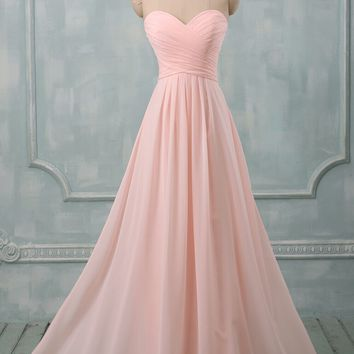 Free shipping Pastel colors Bridesmaid Dresses To Wedding Party Long A-Line Sweetheart Chiffon Formal Dress Vestidos