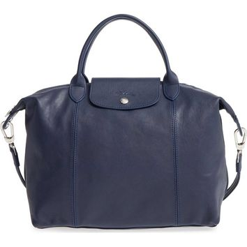 LONGCHAMP LARGE LE PLIAGE CUIR LEATHER TOTE Dark Blue