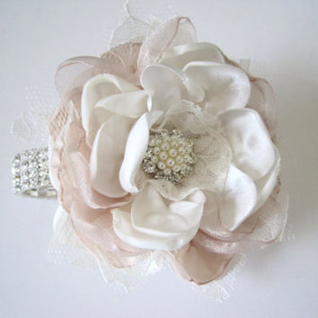 Wrist Corsage Champagne and Ivory Chiffon Organza and Lace with Rhinestone Bracelet and Pearl and Rhinestone Accent Wedding Homecoming Prom