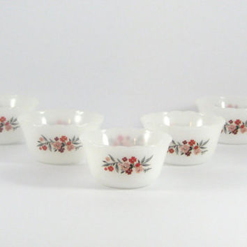 Mid-Century Fire King Primrose Milk Glass Custard Cups, Ramekin, Small Bowls, Set of Five, Pink Floral, Cottage Style Decor