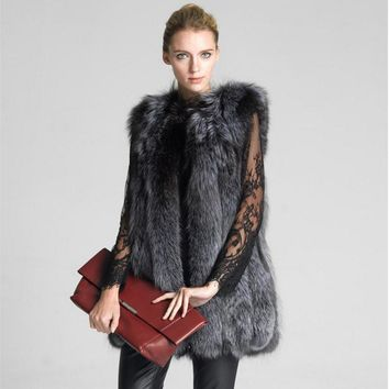 6XL Plus Size  Very good quality Fox Fur Vest Coat Winter Women Luxury Faux Fox Fur Vest Furry Slim Woman Fake Fur Vest wj1546