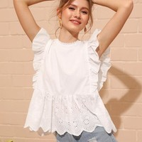 Eyelet Embroidered Ruffle Cuff Blouse