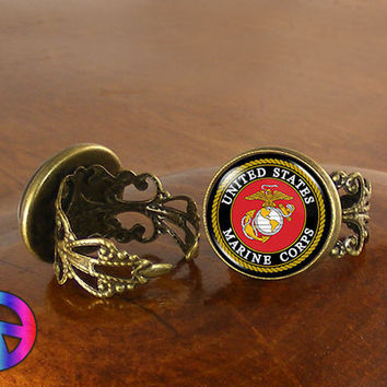 US United States Marine Corps Adjustable Ring Rings Jewelry Jewellery Women Gift