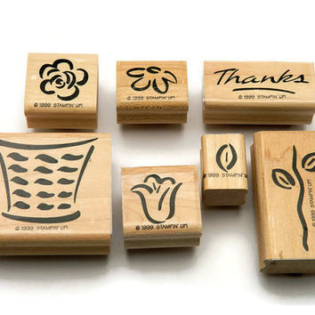 Stampin' Up Rubber Stamp Set, Wood Mounted Stamps, Basket of Blossoms, Two Step Stamping