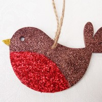 Christmas Tree Decoration with Glitter, Robin