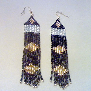 Black, Gold And Silver Diamond Pattern Native American Earrings