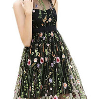 Floral embroidered mesh Hollow Out dress