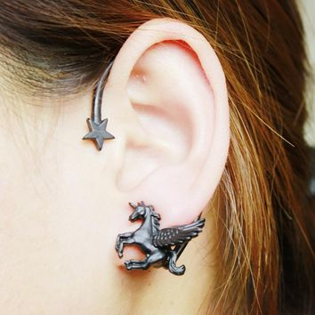 New Fashion Personality Unicorn Pegasus Pentagram Star Clip Earrings Jewelry For Women