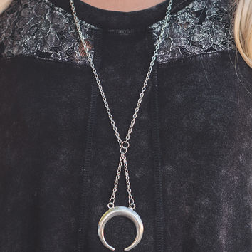 Midnight Moon Silver Crescent Moon Necklace (Silver)