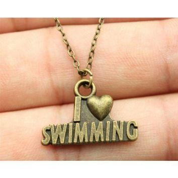 I Heart Swimming Pendant Necklace