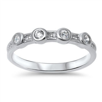 Sterling Silver Stacking Style Ring - Clear CZ
