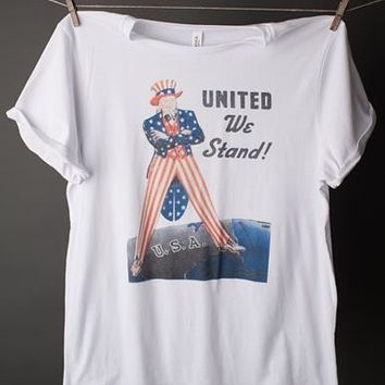 "Gina ""United We Stand"" Rolled Cuff Tee"