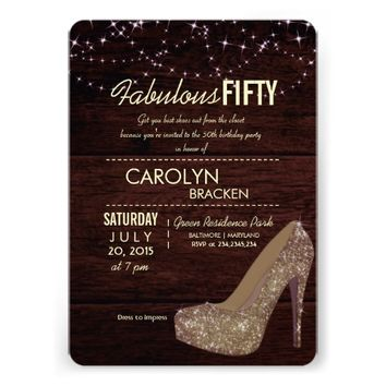 Glam Elegant High Heels 50th Birthday Party Invite
