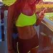Fluorescent Green and Black Bralet and Shorts Sportswear