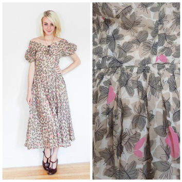 40s 50s vintage day dress / tea dress / off shoulder / floral sun dress / A lined / 1950s 1940s / mid cetury / pink and grey size xs small