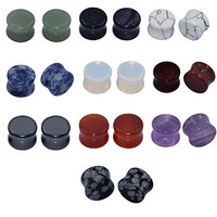 Longbeauty 10Pairs Mixed Stone Saddle Ear Plugs Stretcher Expander Tunnels Ear Gauges Piercing Jewelry 10MM