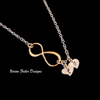 Infinity Necklace Heart Gold Initial Personalized Jewelry - Vivian Feiler Designs | Wedding Jewelry