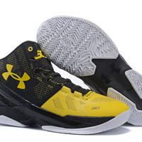 Men's Under Armour Stephen Curry 2 Longshot Taxi Black Yellow Basketball Shoes