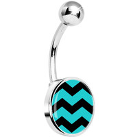 Turquoise Black Chevron Belly Ring | Body Candy Body Jewelry
