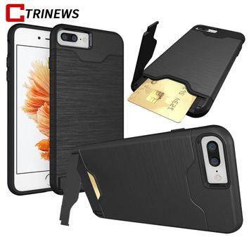 CTRINEWS Armor Case For iPhone 7 7 Plus 8 Luxury Hybrid Hard PC Card Holder Phone Case For iPhone 6 6s Plus TPU Silicone Cover