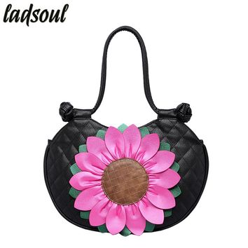 LADSOUL Famous Women Bag Tote Female Big Flower Luxury Women Shoulder Bags 2018 Popular High Quality Women Handbags A748/g