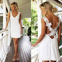 2020 New Ladies V-neck Skirt Sexy Back Cross Lace Dress