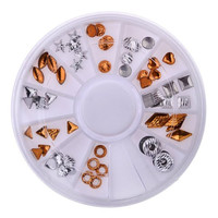 One Box White and Brown Various Shape Metal Rivets DIY Nail Art Decoration