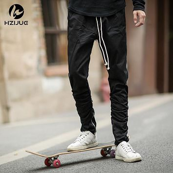 Justin bieber side zipper Men slim fit Casual Mens Hip Hop jogger biker pants Swag Sweatpants skinny trousers beam foot trousers