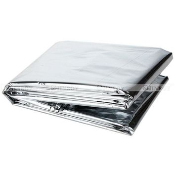 Camping Portable Emergency Waterproof Thermal Survival Blanket Camp Rescue First-Aid Tent Equipment 210*130CM Silver