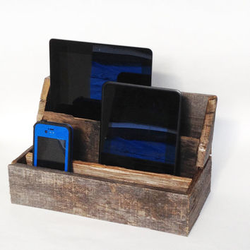 Primitive decor pallet wood charging station or desk organizer, perfect for rustic kitchen, living room or office