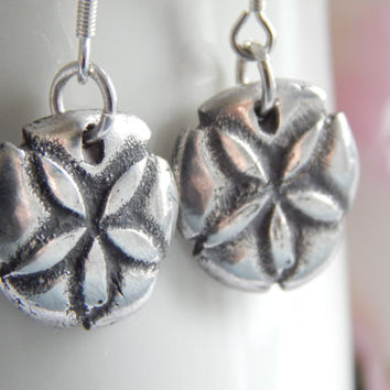 Sweet Sand Dollar Sea Urchin Dangle Earrings - Solid Silver Earrings - Sand Dollar Earrings - Sand Dollar Jewelry - Beach Jewelry