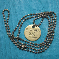 KC Corp Tool Check Tag Pendant on Hardware Ball Chain Necklace