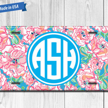 Floral License Plate Monogram - Personalized Custom Made Auto Tag LP007