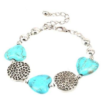 Aprilsky Womens Tibetan Silver Rimous Green Turquoise Bangle Bracelet Adjustable