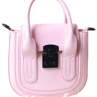 Pink Candy Color Hardware Toggle Closure PU Handbag